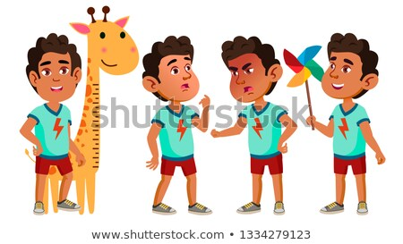 arab muslim boy kindergarten kid poses set vector happy beautiful children character for advertis stock photo © pikepicture