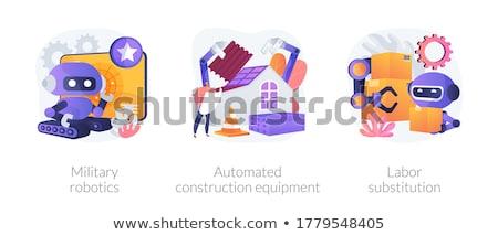 Substituição robô humanismo trabalhando caixas Foto stock © RAStudio