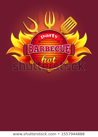 вечеринка барбекю гриль листовка инструменты вилка Сток-фото © robuart