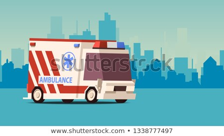 Ambulance auto stadsgezicht cartoon zijaanzicht Blauw Stockfoto © tashatuvango