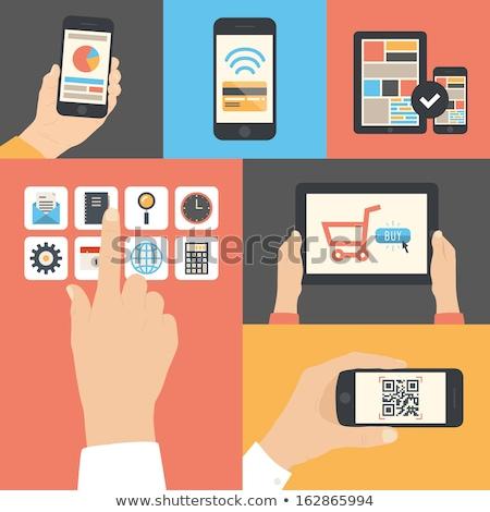 онлайн применение стороны телефон икона вектора Сток-фото © vector1st