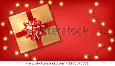 Rood boeg geschenkdoos lichten vector realistisch Stockfoto © frimufilms
