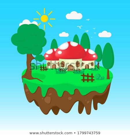 Gomba ház kert sziget illusztráció tájkép Stock fotó © colematt