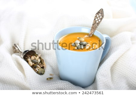Blue cup of pumpkin soup on the knitted woolen fabric stock photo © Melnyk