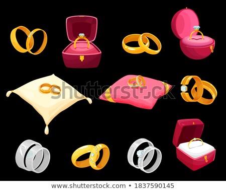 Dorado plata anillo rojo cuadro vector Foto stock © pikepicture