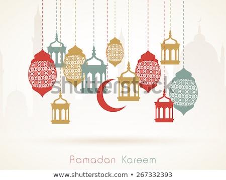 stylish eid mubarak greeting design with hanging lamps Stock photo © SArts