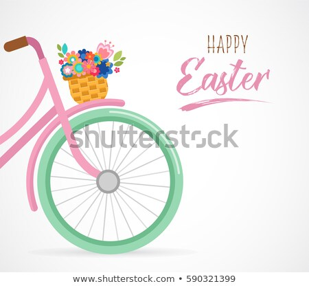 happy easter greeting card poster with cute flowers in the bicycle basket stock photo © marish