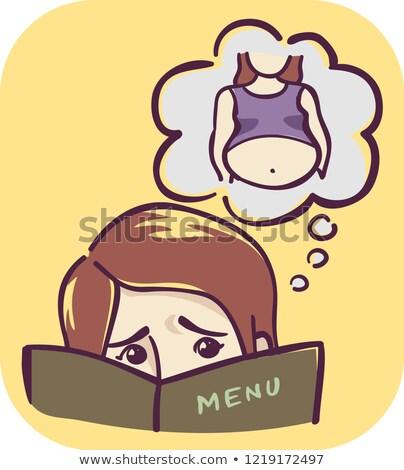 Lány tünet nyugtalan étel választás illusztráció Stock fotó © lenm