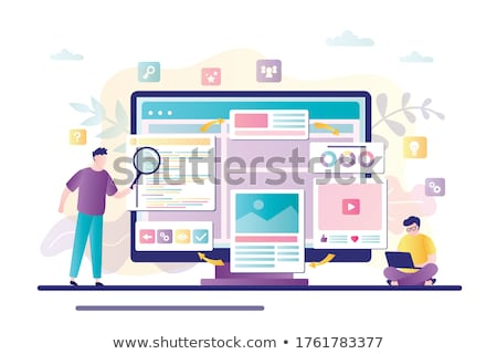 man with laptop and magnifying glass analyzing stock photo © robuart