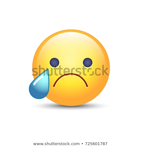 Sad yellow emoticon crying face in 3d background Stock photo © cienpies