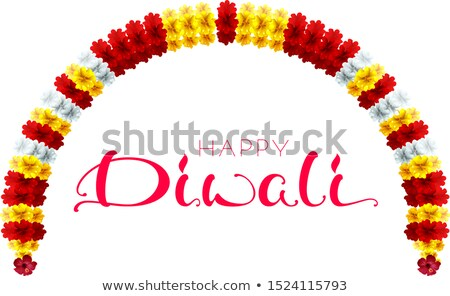 diwali festival of lights garland flower and calligraphy text greeting card stock photo © orensila