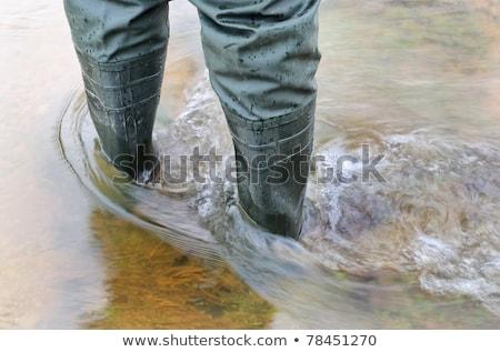Homem pé pescador água natureza Foto stock © galitskaya