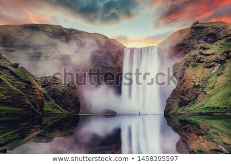 Iceland waterfall Skogafoss in Icelandic nature landscape - long exposure Stock photo © Maridav