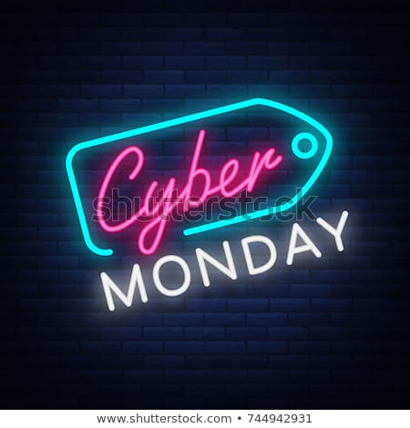cyber monday sale banner in neon light style stock photo © SArts