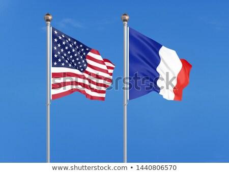 米国 フランス フラグ 古い グランジ 黒 ストックフォト © sharpner