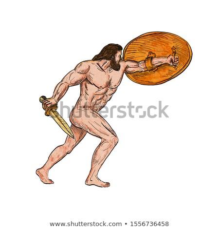 Roman bohater boga tarcza retro rysunek Zdjęcia stock © patrimonio