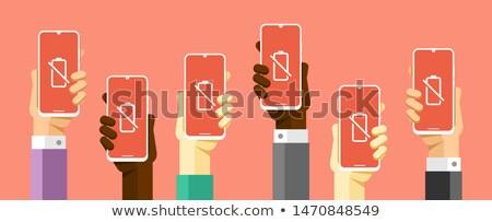 Kéz okostelefon vázlat alacsony elem vektor Stock fotó © karetniy