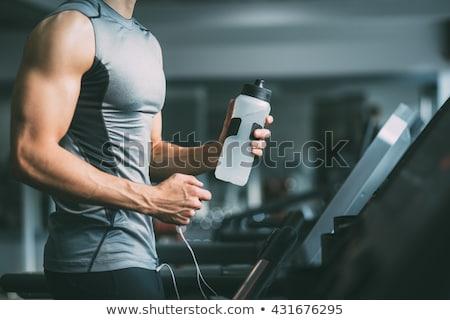 筋肉の 男性 飲料水 シェーカー 水 肖像 ストックフォト © Jasminko