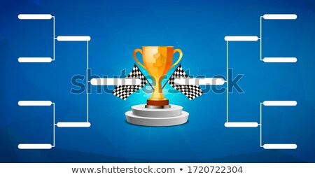 Tournament bracket template for 8 teams with golden cup winner award on blue background Stock photo © evgeny89