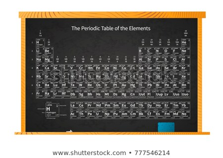 Chemical periodic table of elements on school blackboard in wooden frame on white Stock photo © evgeny89