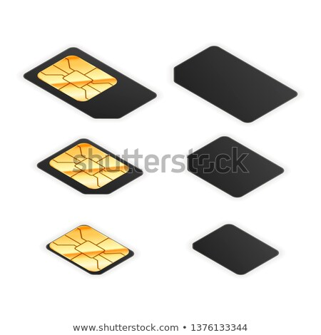 Set of black standard, micro and nano sim card for phone with golden glossy chip from both sides on  Stock photo © evgeny89