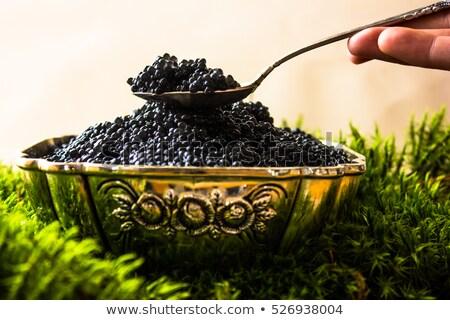 Caviar negro cuchara de madera aislado blanco alimentos Foto stock © konturvid