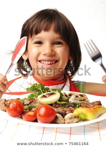 cute · positivo · nino · tenedor · cuchillo · comer - foto stock © zurijeta