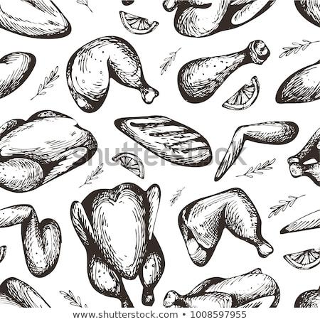 куриные шаблон иллюстрация Пасху Сток-фото © Galyna