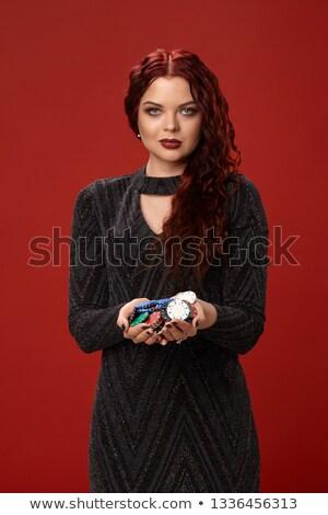 mulher · pôquer · cartões · branco - foto stock © Rob_Stark