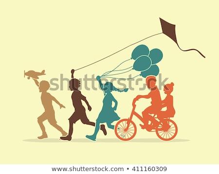 dziecko · trawy · Kania · kolaż · papieru · sportowe - zdjęcia stock © photography33