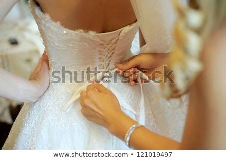 corset of white wedding dress   rear view stock photo © pzaxe