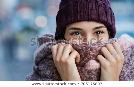 beautiful young smiling girl with hat and scarf in winter Stock photo © juniart