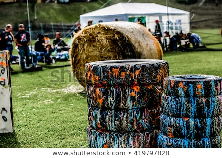Paintball joueur marqueur grunge herbe sport Photo stock © grafvision