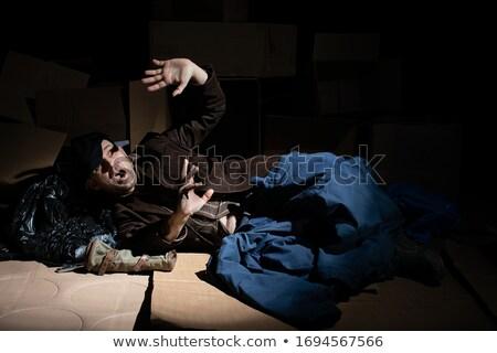 Daklozen man zelfverdediging teen bat wijn Stockfoto © lisafx