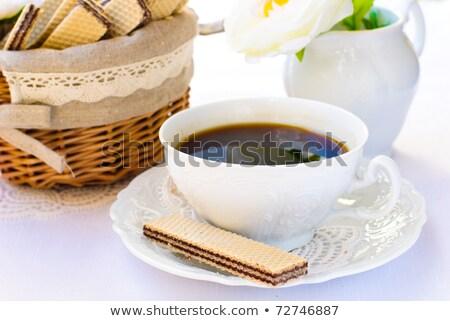 feketekávé · nápolyi · csésze · csokoládé · krém · fókusz - stock fotó © toaster