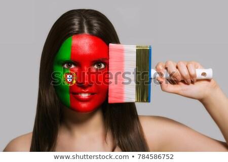 Atraente mulher bandeira pintado cara futebol Foto stock © photography33