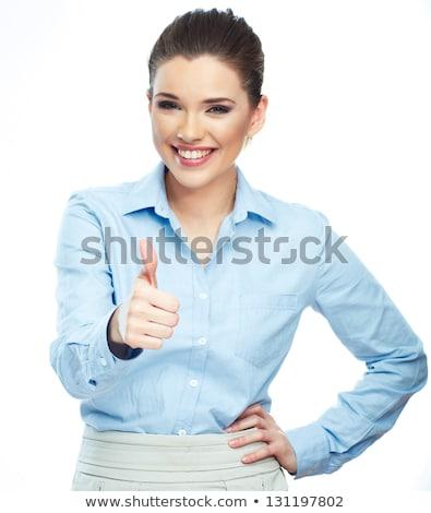 Szczęśliwy kobieta interesu kciuk w górę biały biuro Zdjęcia stock © wavebreak_media