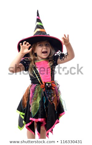 pretty blonde girl dressed up as a halloween witch Stock photo © carlodapino