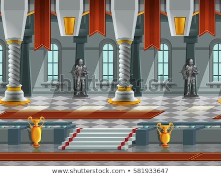 lovag · páncél · kastély · férfi · építészet · viselet - stock fotó © ddraw