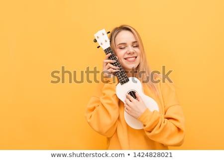 mooie · meisje · gitaar · geïsoleerd · witte - stockfoto © photography33