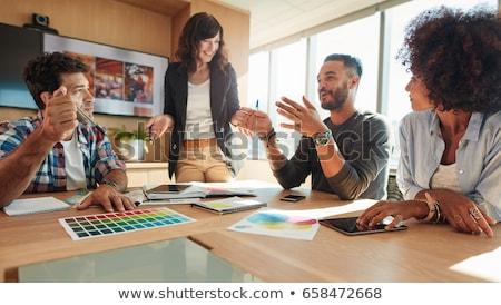 Femme d'affaires agence affaires main heureux travail Photo stock © photography33