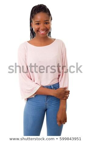 Piękna uśmiechnięta twarz szczęśliwy Afryki nastolatek dziewczyna Zdjęcia stock © dacasdo