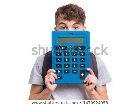 Sevimli erkek büyük hesap makinesi teklif atış Stok fotoğraf © SLP_London