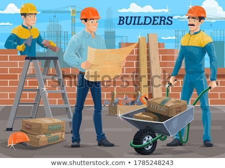 建設作業員 · レンガ · ワーカー · ギア · 着用 - ストックフォト © photography33