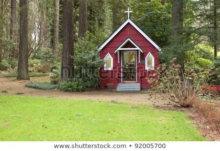 小 赤 チャペル 森林 アーキテクチャ 窓 ストックフォト © Rigucci