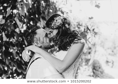 black white photo of attractive couple stock photo © konradbak