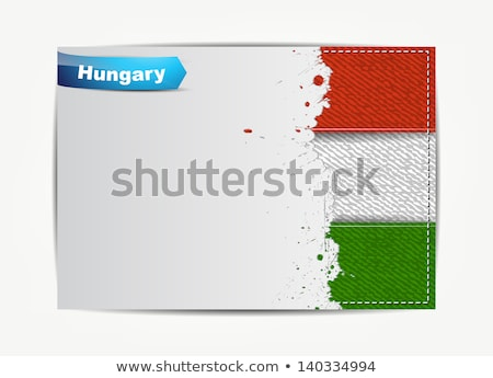 Stitched Hungary flag with grunge paper frame for your text.  Stock photo © maxmitzu