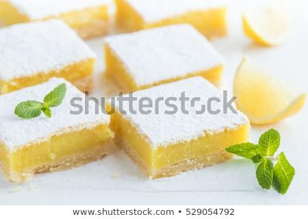 limon · kare · beyaz · plaka · gıda - stok fotoğraf © raptorcaptor
