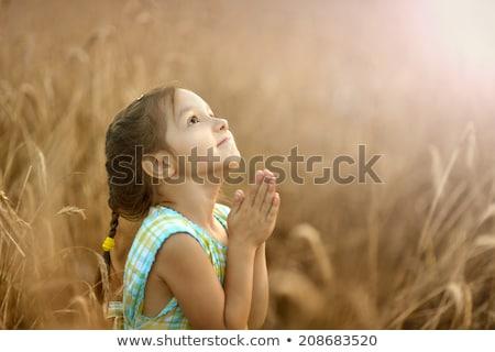 aanbiddelijk · meisje · bidden · geïsoleerd · handen - stockfoto © tarikvision