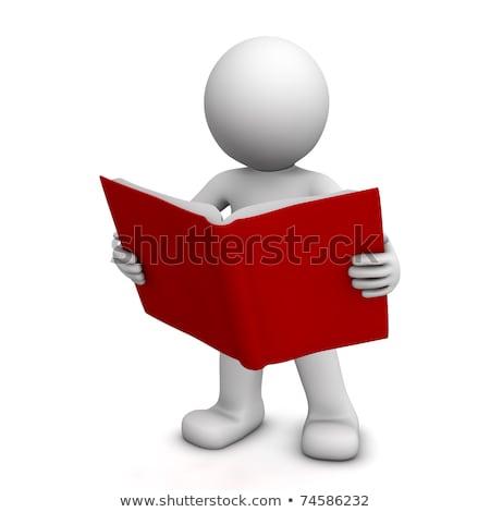 3D pequeño hombre libro blanco persona Foto stock © karelin721